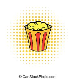 Popcorn in striped bucket comics icon