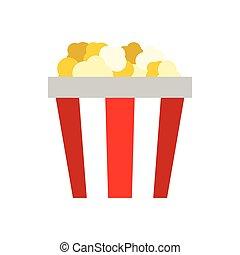 Popcorn in striped cardboard bucket icon