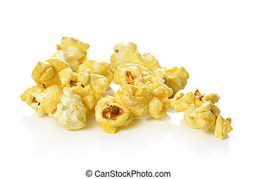 Popcorn isolated on the white background