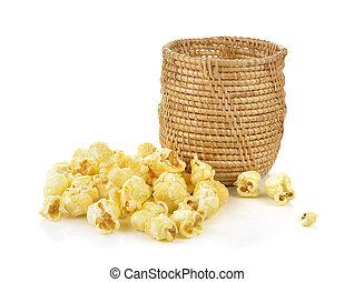 Popcorn isolated on the white background