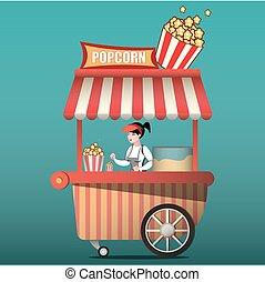 popcorn, kar, carnaval, winkel, en, plezier, straatfeest, popcorn, cart.