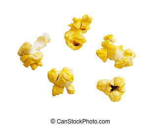 Popcorn kernels isolated with clipping path.