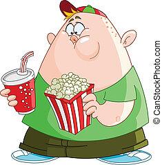 popcorn, koźlę, soda
