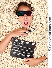popcorn, m�dchen, junger, begraben