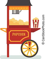 Popcorn machine flat illustration