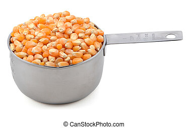 Popcorn maize in an American cup measure