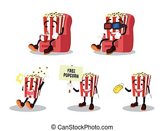 popcorn man cartoon set