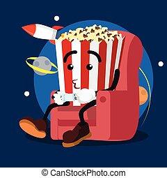 popcorn man playing games