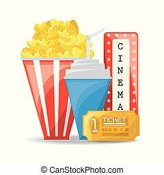 popcorn, med, soda, och, lottsedlar, till, bio
