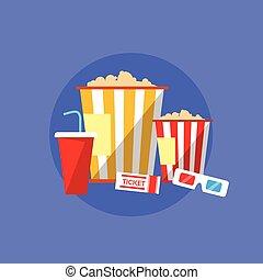Popcorn Movie Set Flat Design Ticket Glasses Cinema