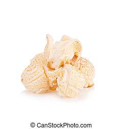 popcorn, mucchio, isolato, bianco