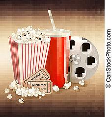 popcorn, och, a, dricka, och, två, tickets., vektor, illustration