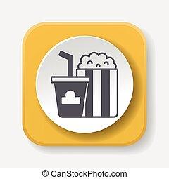 popcorn, och, soda, ikon