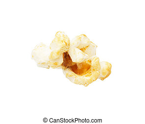 popcorn on a white background. macro