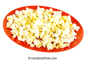 Popcorn on Red Plate