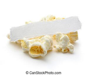 Popcorn on the white background