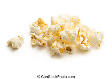 Popcorn on the white background