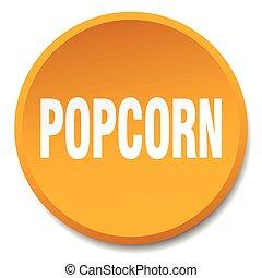 popcorn orange round flat isolated push button
