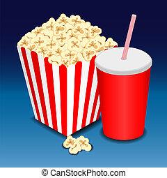 popcorn, pieno, vetro, bevanda