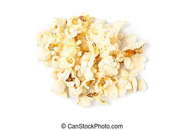 Popcorn pile isolated on white background, close up