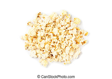 Popcorn pile isolated on white background, top view
