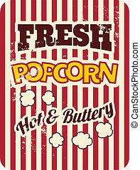 popcorn, plakat, retro