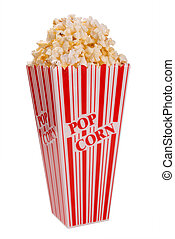 popcorn from side isolated over white with clipping path
