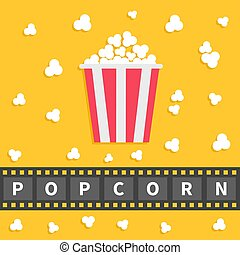 Popcorn popping. Big film strip line with text. Red white box. Cinema movie night icon in flat design style. Yellow background.