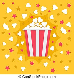 Popcorn popping explosion. Red yellow strip box package. Fast food. Cinema movie night icon in flat design style. Star shadow element. Yellow background.