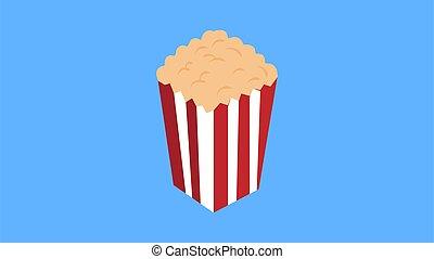 Popcorn popping. Red yellow strip box. Cinema movie night icon in flat design style. Vector illustration