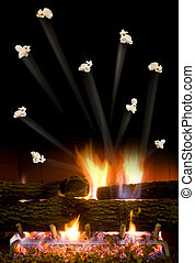 Popcorn Popping. - Popcorn popping in the fire place.