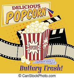 Popcorn poster - Popcorn with clapper board, filmstrip and ...