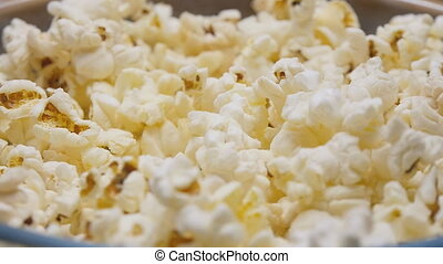 Popcorn pouring in slow motion