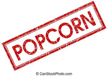 popcorn, røde kvadratiske, frimærke, isoleret, på hvide, baggrund