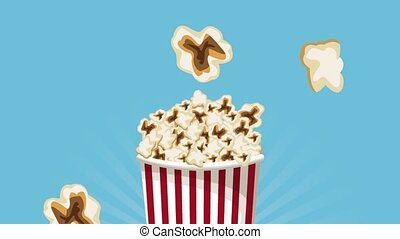 Popcorn raining on box HD animation