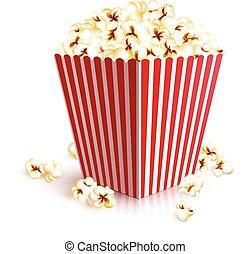 popcorn, realistisch, wischeimer