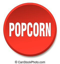 popcorn red round flat isolated push button