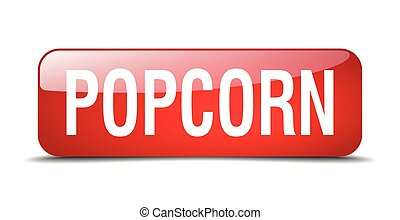 popcorn red square 3d realistic isolated web button