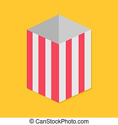 Popcorn red yellow strip square empty paper box. Movie Cinema night icon. Flat design style. Yellow background. Isolated.