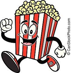 A cartoon illustration of a Popcorn Mascot.