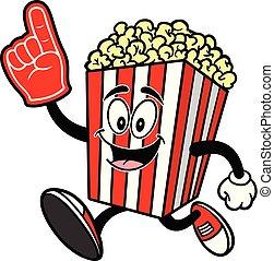 Popcorn Running with a Foam Hand