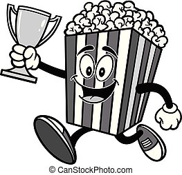 Popcorn Running with a Trophy Illustration