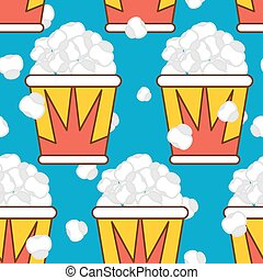 Popcorn seamless pattern. Food background. Feed texture