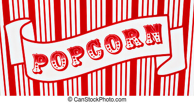 Popcorn Sign - Red and white popcorn sign on red and white ...