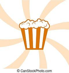 popcorn, simbolo, fresco