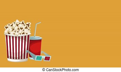 Popcorn, soda and 3d glasses HD animation