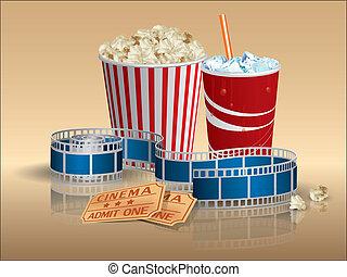 popcorn, soda, och, film, lottsedlar, med, filmstrip