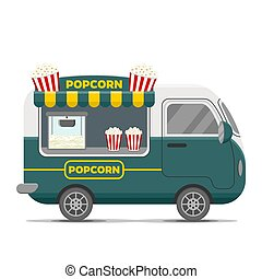 Popcorn street food vector caravan trailer