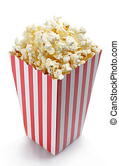 Popcorn - Striped box of fresh popcorn isolated on white...