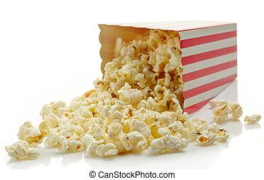 Popcorn - Striped box of popcorn isolated on white...